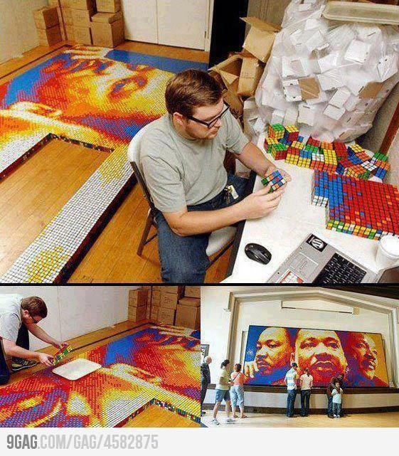 An Extraordinary Rubik's Cube Portrait of Dr. Martin Luther King Jr #9GAG