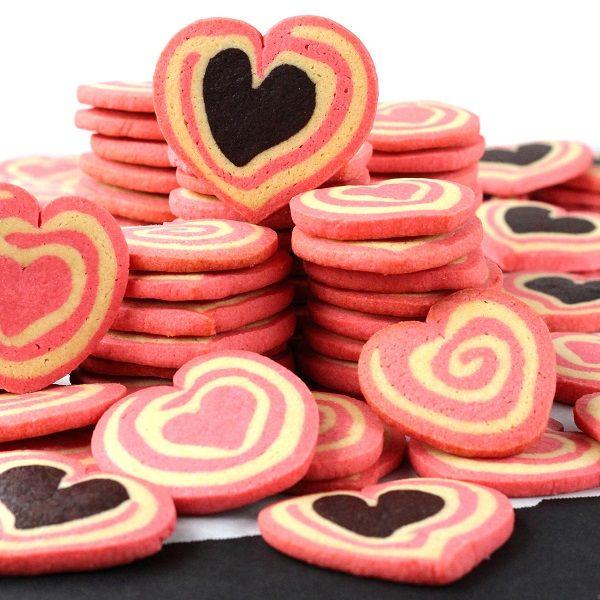 SugaryWinzy Chocolate and Pink Heart Pinwheel Cookies