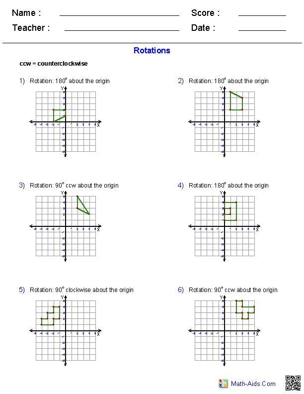 Rotations Worksheets | Math-Aids.Com | Pinterest