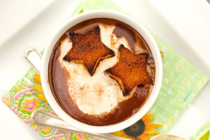 Dark Chocolate Soup with Cinnamon-Toasted Pound Cake Croutons # ...