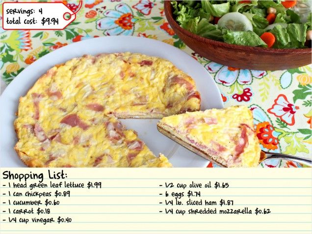 Ham and Cheese Frittata with Green Salad. #dinner #brunch http://www ...