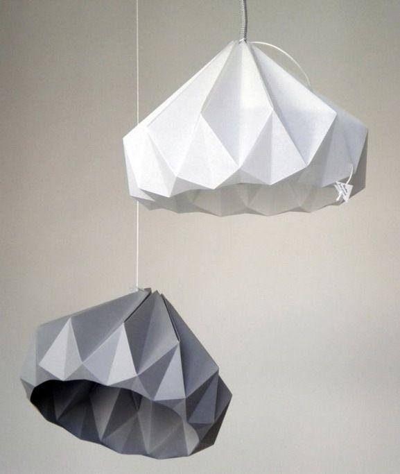 Ornament origami diamond light bulb lamps pinterest - Paper light fixtures ...