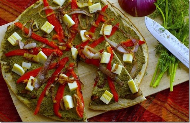 Artichoke and dill pesto on a vegan pizza