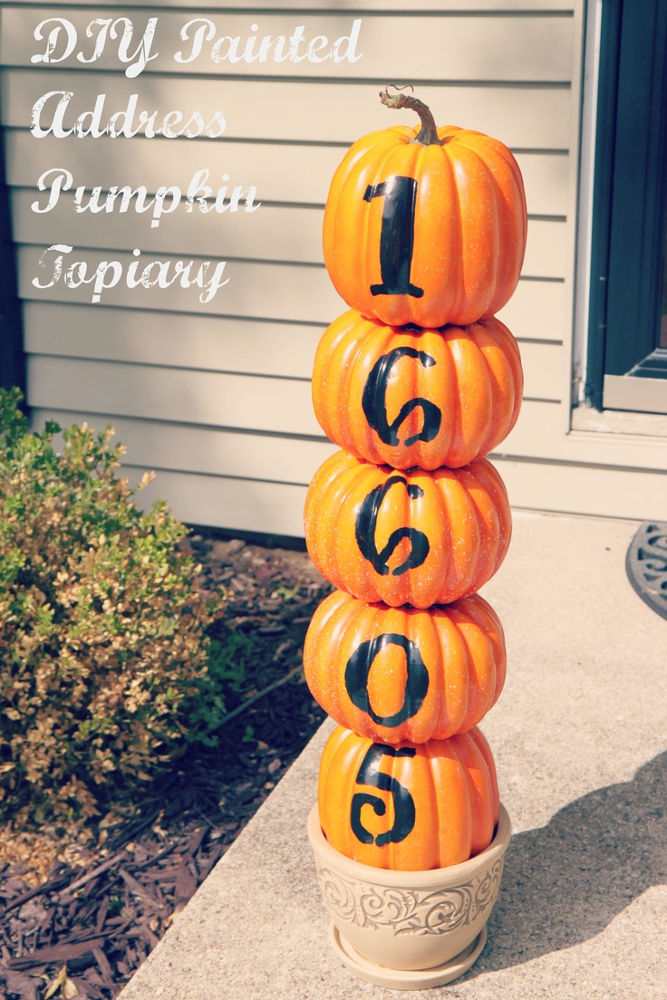 painted address pumpkin topiary