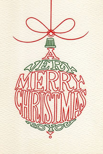 Vintage Christmas card. i like the style using words and fit it in to bubble. it is simple but effective.