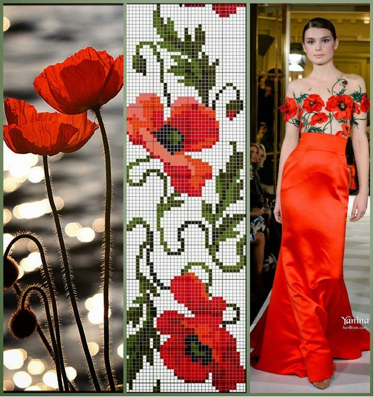 Маки вышивка на платье 590