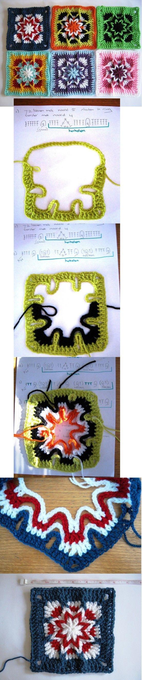 interesting technique for this crochet granny square!!!