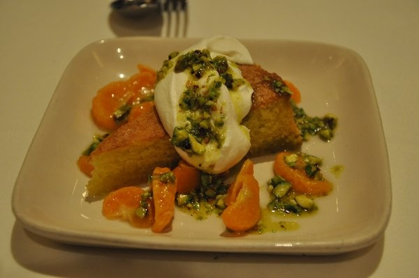 ... Olive Oil Cake with Candied Tangerines, Créme Fraîche and Pistachios
