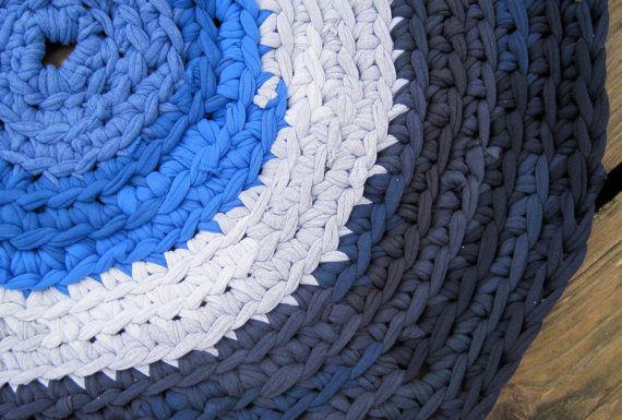 SALE Crochet Recycled T Shirt Crochet Rag Rug by AlbsmeyerRoad, $30.00