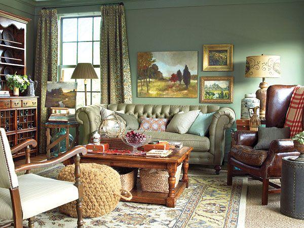Dark green walls eclectic living room living rooms for Dark green living room