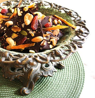 Dark chocolate with dried fruit and nuts - bark all dressed up
