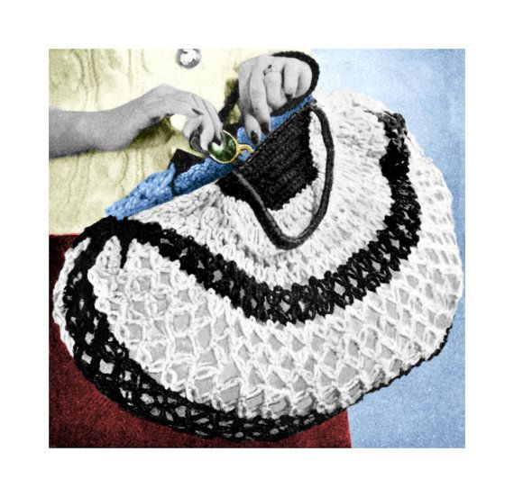 Vintage Crochet Purse Patterns : Vintage 1940s Shopping Tote Bag Purse Handbag by 2ndlookvintage, $3.00