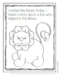 Library Lion Coloring Sheet Themed
