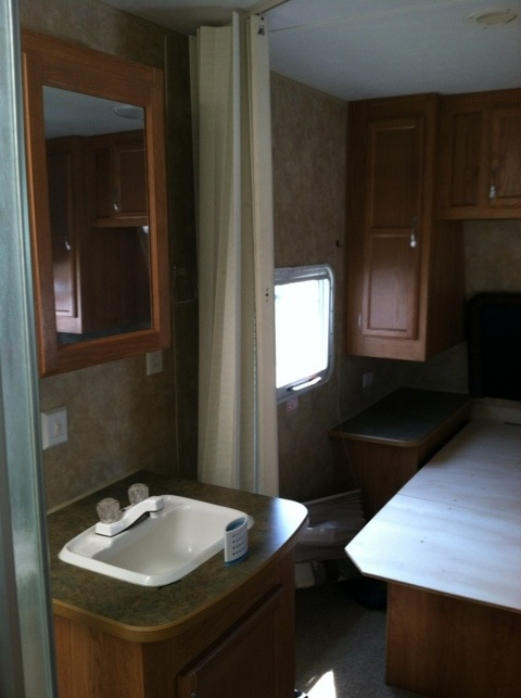 before bath vanity area my getaway rv renovation