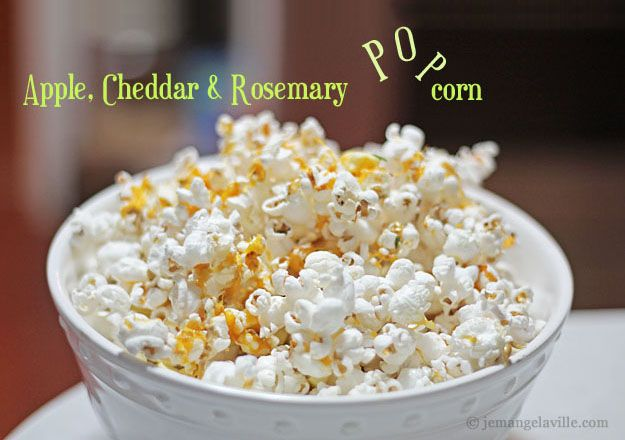 Apple, Cheddar & Rosemary Popcorn from jemangelaville.com