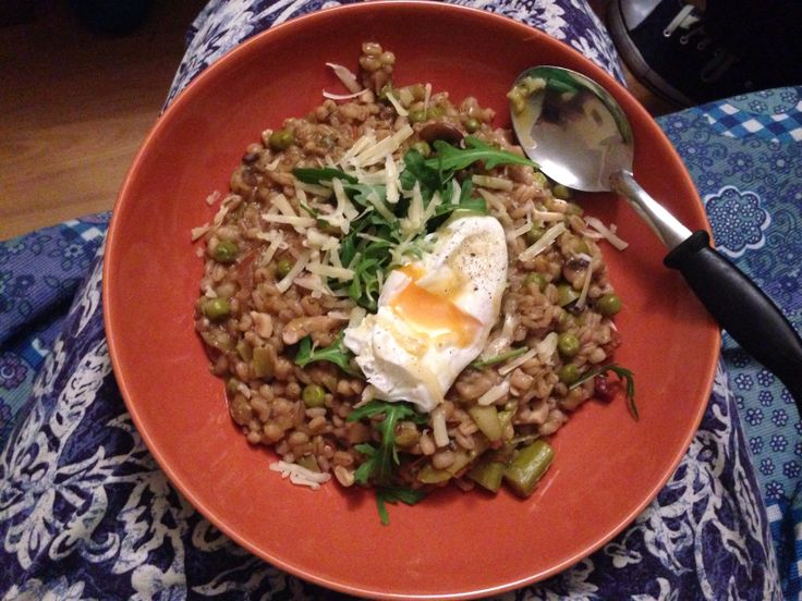 Pea and asparagus pearl barley risotto, with a lovely poached egg. # ...