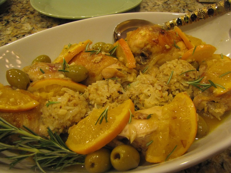 Chicken braised with oranges and olives. Served with cauliflower rice!