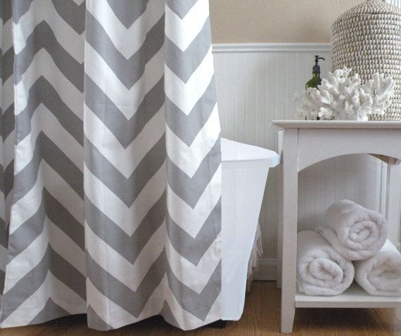 Extra Long Shower Curtain Chevron 72x72 Gray And White Large Zig Zag