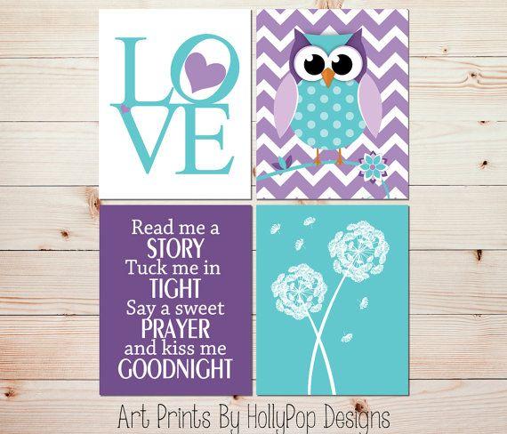 Nursery Decor-Toddler Girls Room-Purple Aqua Wall art-Dandelion Botanical Print-Woodland Owl Nursery Print-Ready Me A Story-LOVE