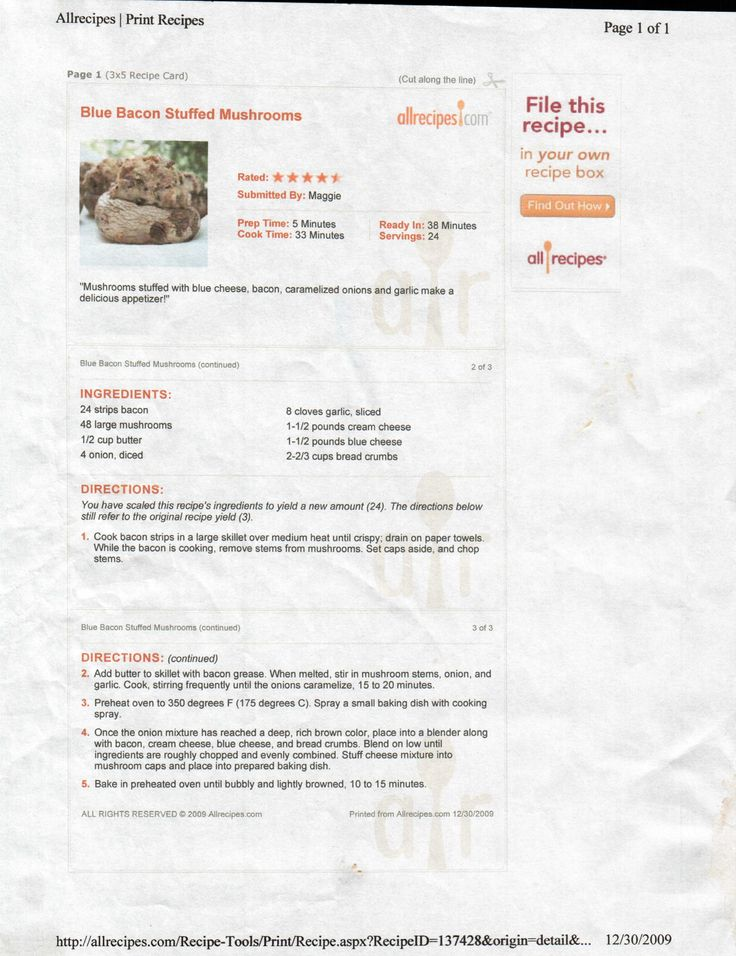 Blue Bacon Stuffed Mushrooms | Appetizers / Side Dish | Pinterest