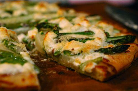 Asparagus, Fingerling Potato & Goat Cheese Pizza