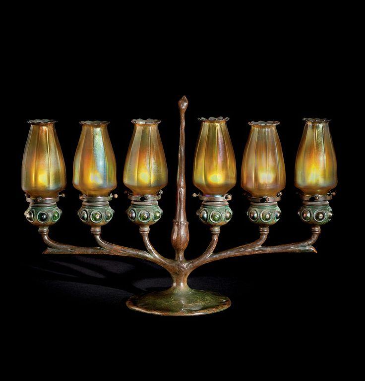 TIFFANY STUDIOS - A FAVRILE GLASS AND BRONZE SIX-LIGHT CANDELABRUM, CIRCA 1905