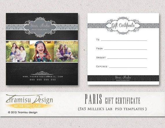 Photography gift certificate photoshop 5x5 card template paris instant download for Photography gift certificate template