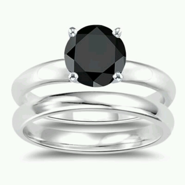 Black diamond ring set  Wedding Stuff  Pinterest