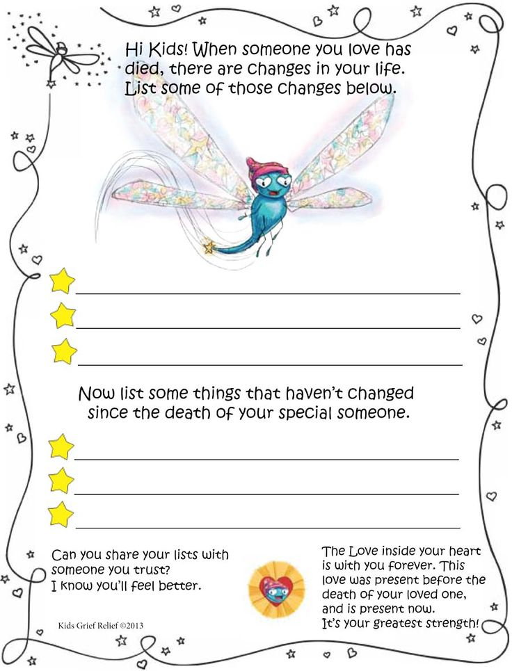 Grief worksheets for elementary students