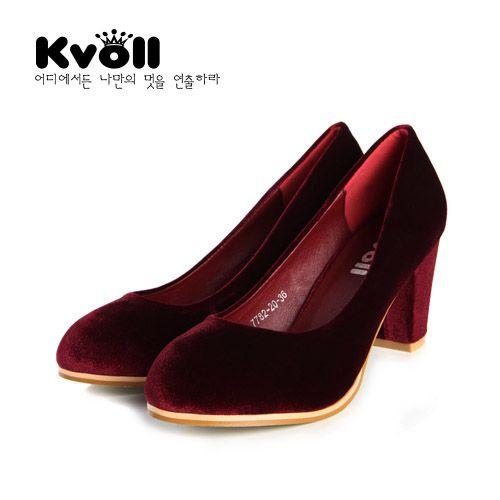 Fashion pumps solid color generous vintage women shoes D75725