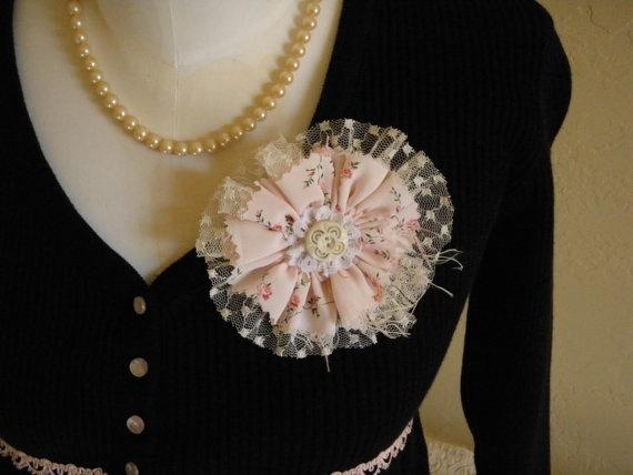 Vintage fabrics, trims & tulle handmade pin brooch!  Custom order.