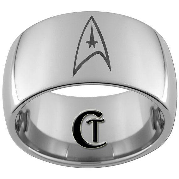 12mm Dome Tungsten Carbide Laser Star Trek By CustomTungsten 4900