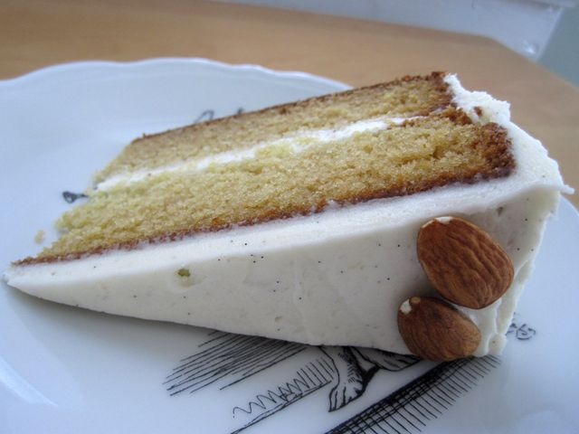 Slice of Almond Cake with Vanilla Bean Buttercream Frosting