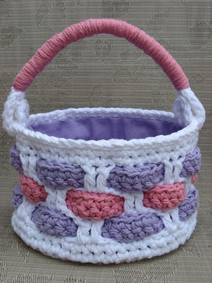 Crochet Easter Basket : Easter Basket Crochet Pattern, woven look, easy to make, directions i ...