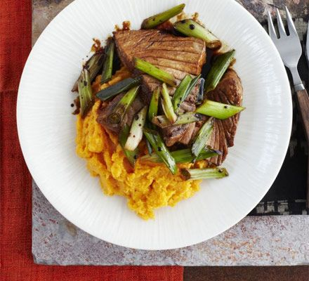 Seared soy tuna steak with spring onions and ginger sweet potato mash ...