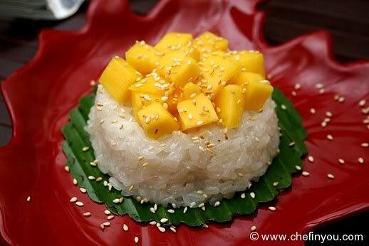 Thai dessert: Mango & sticky rice. Currently making this with my mum ...