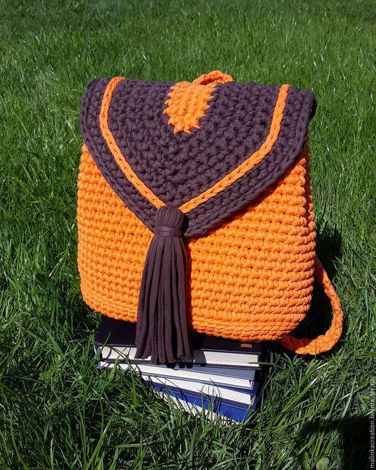 Вяжем рюкзак из трикотажной пряжи : 5 интересных вариантов рюкзачков