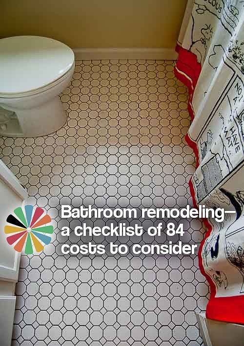 Bathroom remodeling — a checklist of 84 costs to consider