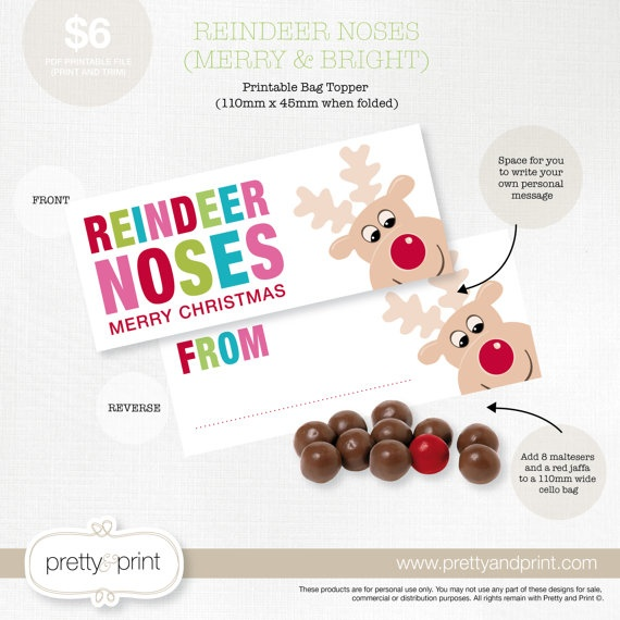 Reindeer Noses - Bag Topper FILL IN Printable PDF (Merry & Bright). $6 ...