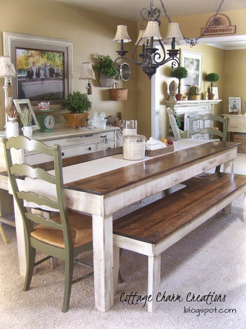 farmhouse dining table and bench Dining