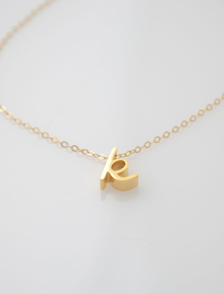 Cursive rose gold letter necklace for Lowercase letter necklace