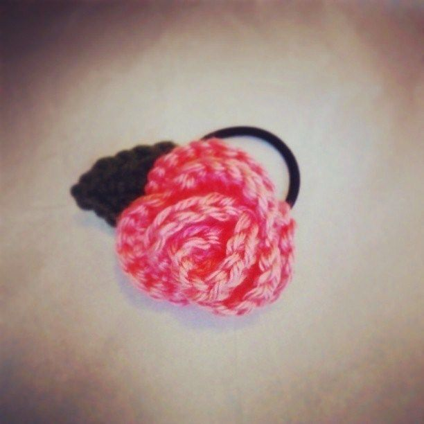 Crochet Rose With Leaf Hair Band
