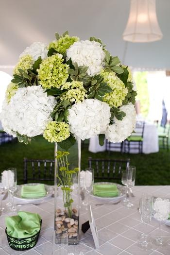 Green Wedding Flowers Centerpieces : Green and white floral wedding