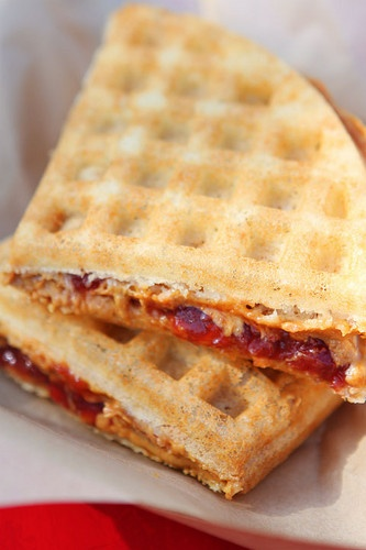 Adding peanut butter and jelly between two whole grain waffles makes ...