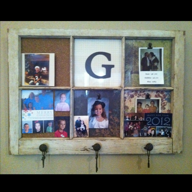 My sister made this out of an old window...great for hanging pics on!! I love it!!