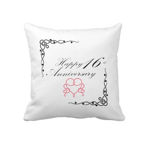 16th Wedding Anniversary Gift For Husband : Happy 16th Anniversary pillow
