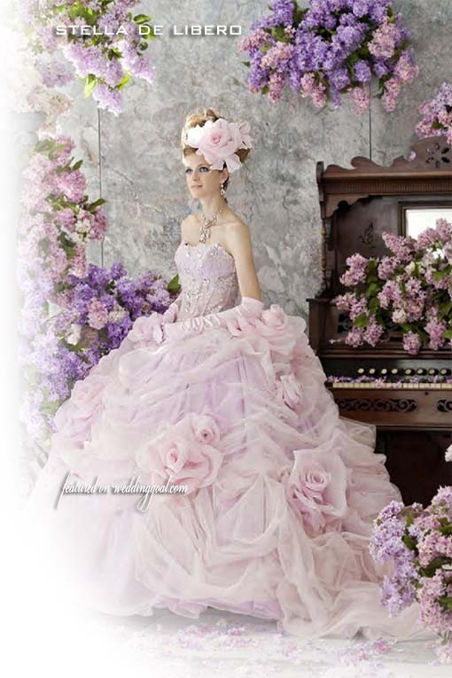 Pink wedding dress by stella de libero