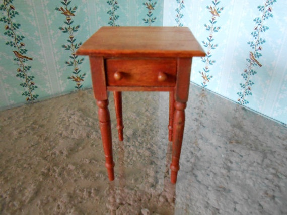 Square kentucky painted side table for dollhouse or for 12 inch square table