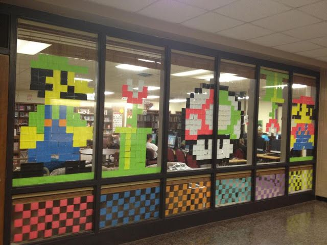 Mario post it note art cierra and justin apartment for Apartment makerspace