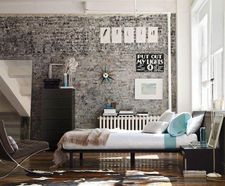 Brick Wall Industrial Bedroom Interior Decorating Ideas Pinterest